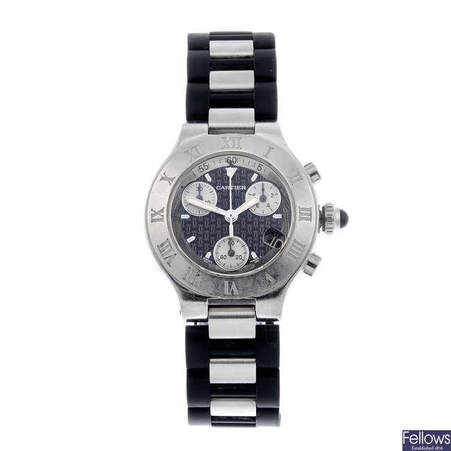 CARTIER - a stainless steel Must De Cartier Chronoscaph 21 chronograph wrist watch.