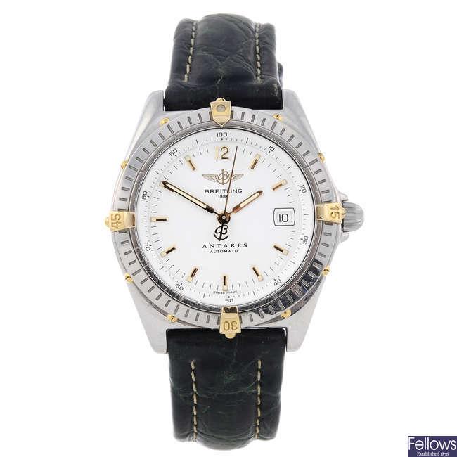 BREITLING - a gentleman's stainless steel Antares wrist watch.