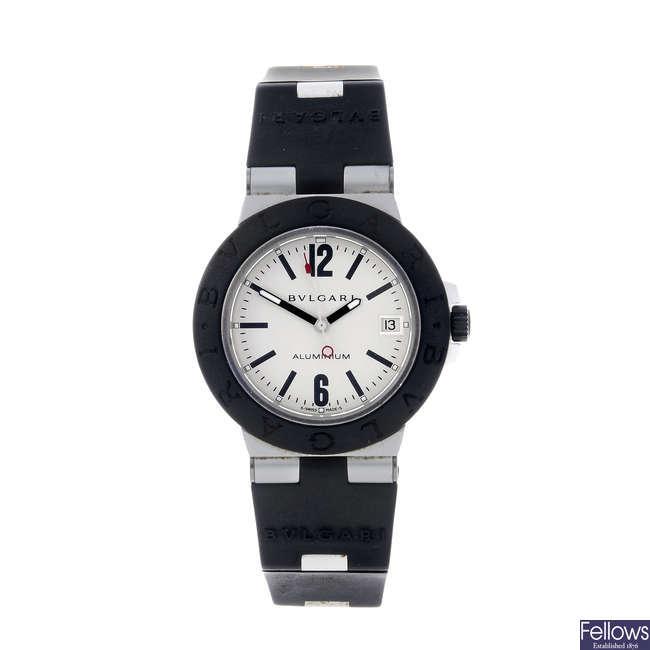 BULGARI - a gentleman's aluminium Diagono Aluminium wrist watch.
