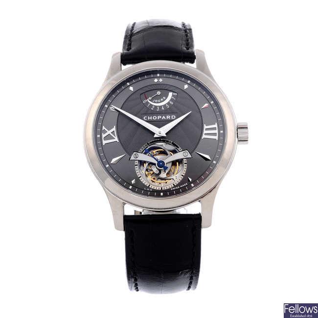CHOPARD - a limited edition gentleman's 18ct white gold L.U.C Tourbillon Steel-Wing 8 Day Power wrist watch.