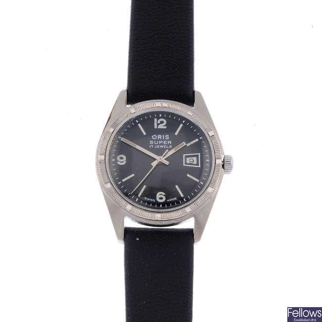 ORIS - a gentleman's base metal Super wrist watch with another Oris watch.