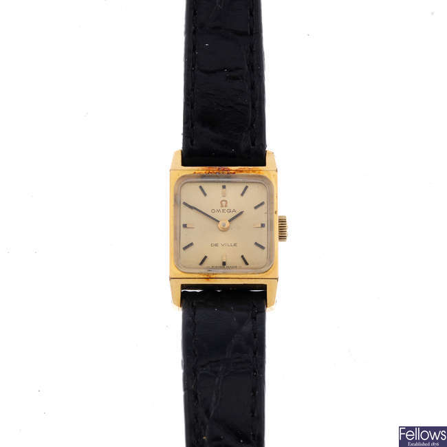 OMEGA - a lady's gold plated De Ville wrist watch with a gentleman's Omega De Ville watch