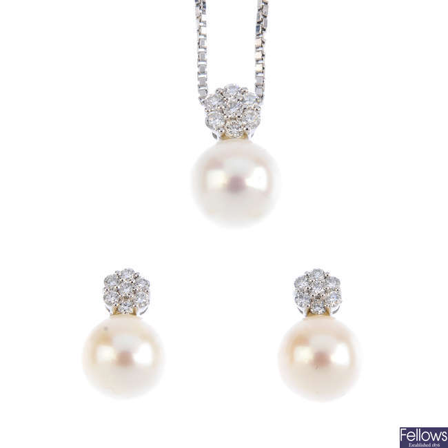 A set of cultured pearl and diamond jewellery.