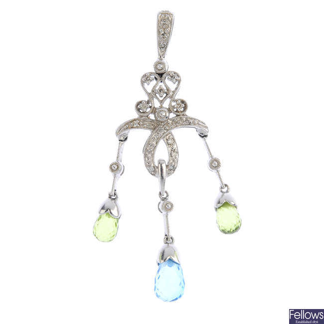 A diamond and gem-set pendant.