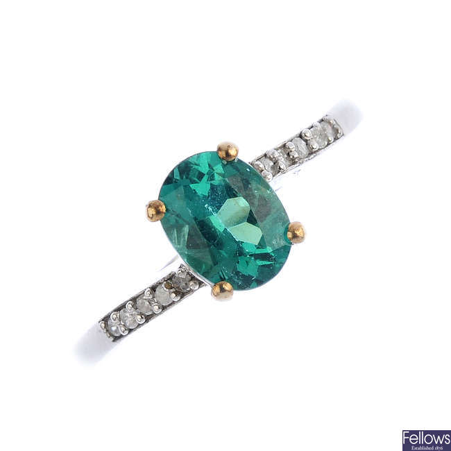 A 9ct gold apatite and diamond ring.