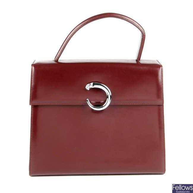CARTIER - a top handle Panthere Bordeaux handbag.