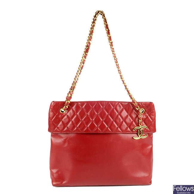 CHANEL - a vintage red lambskin leather handbag.