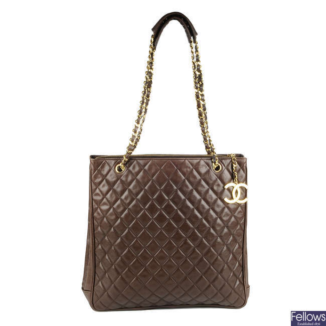 CHANEL - a vintage brown quilted lambskin leather handbag.