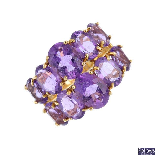 An 18ct gold amethyst dress ring.