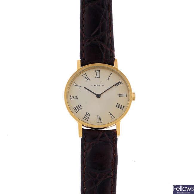 ZENITH - a gentleman's gold plated wrist watch.