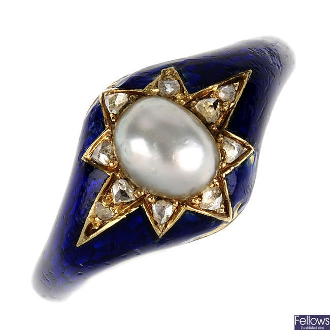 A mid Victorian diamond, split pearl and enamel ring.