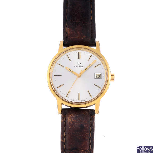 OMEGA - a gentleman's gold plated wrist watch.
