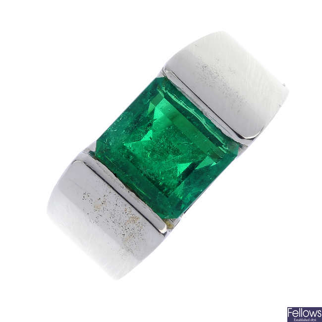 A Colombian emerald single-stone ring.