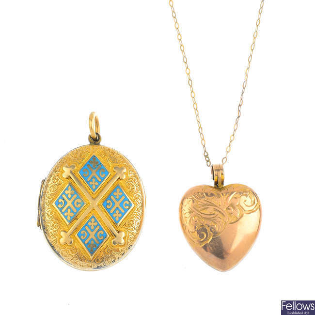 Two early 20th century lockets, and a chain.