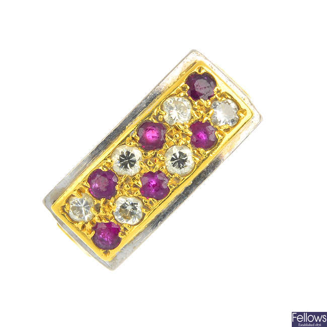 An 18ct gold ruby and diamond dress ring.