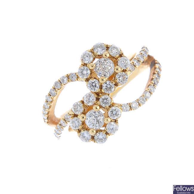 A diamond cluster ring. AF.