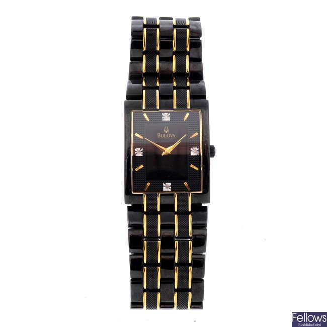 BULOVA - a gentleman's PVD-treated stainless steel bracelet watch.