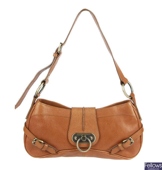 BURBERRY - a leather handbag.