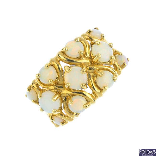 A 9ct gold opal dress ring.