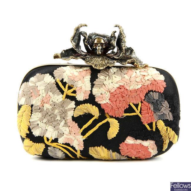 ALEXANDER MCQUEEN - a floral iris skull box clutch.
