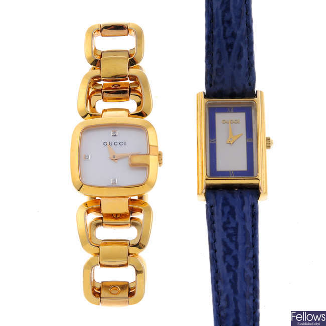 GUCCI - a lady's gold plated wrist watch.