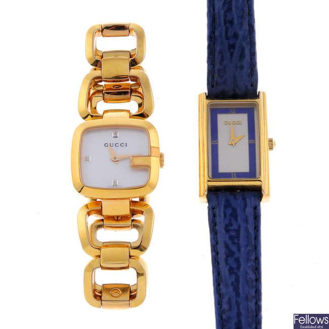 GUCCI - a lady's gold plated wrist watch.