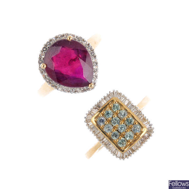 Two 9ct gold diamond and gem-set dress rings.