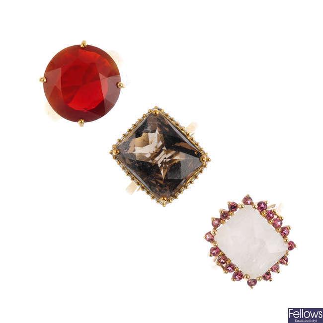 Three 9ct gold gem-set dress rings.