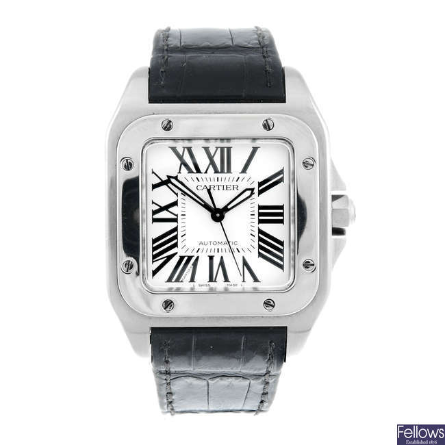 CARTIER - a stainless steel Santos 100 wrist watch.