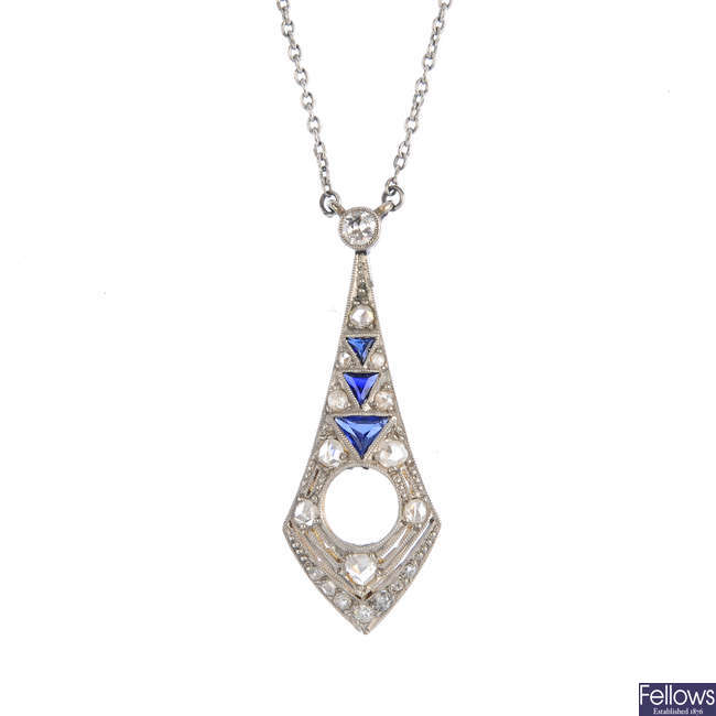 An Art Deco diamond and sapphire pendant mount, with chain.