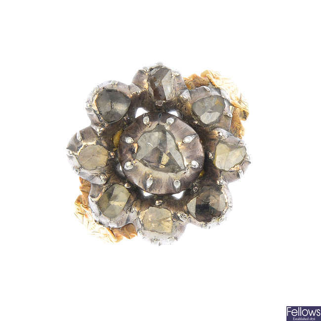 A late Georgian silver and gold diamond ring.
