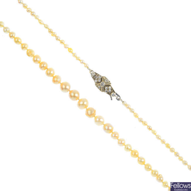 A natural pearl single-strand and diamond necklace.