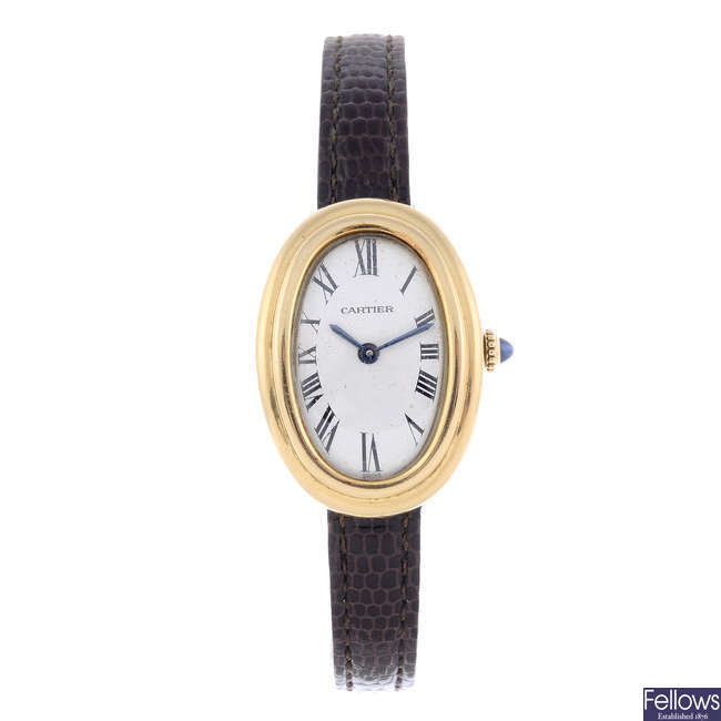 CARTIER - a yellow metal Baignoire wrist watch.