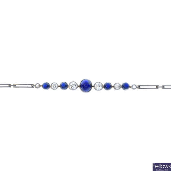 An early 20th century platinum and gold sapphire and diamond bracelet.