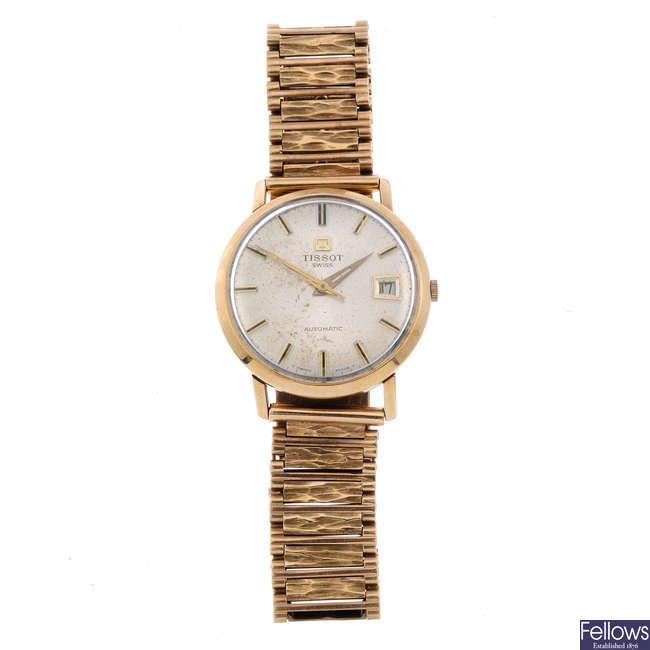 TISSOT - a gentleman's 9ct yellow gold bracelet watch with a 9ct yellow gold Accurist bracelet watch.