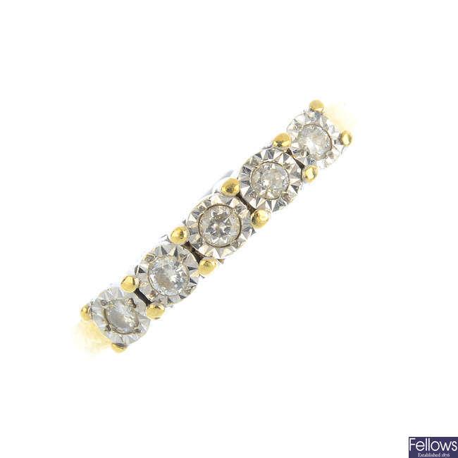 A 9ct gold diamond five-stone ring.