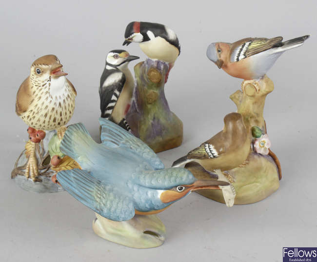 A group of Royal Worcester and other bird figurines