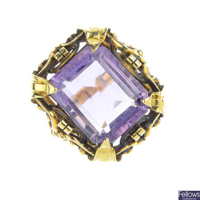 A mid 20th century amethyst single-stone ring.