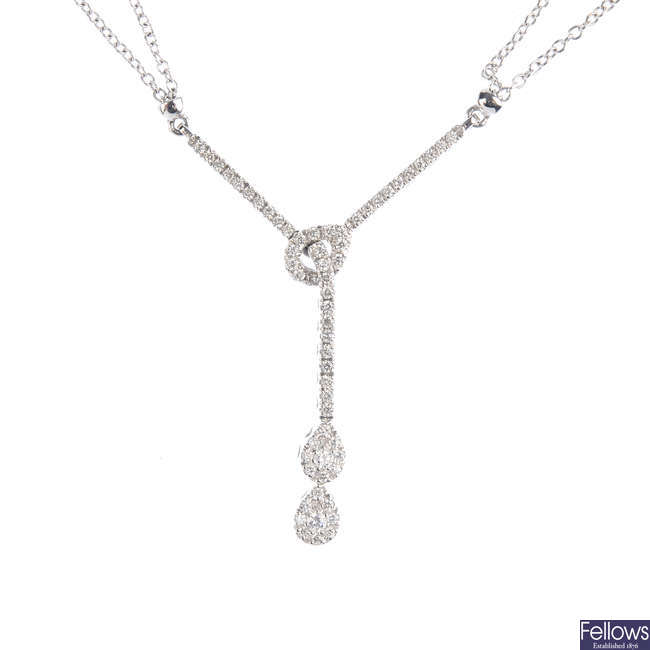 MAPPIN & WEBB - an 18ct gold diamond necklace.