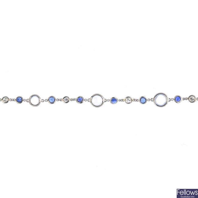 A moonstone, diamond and sapphire bracelet.