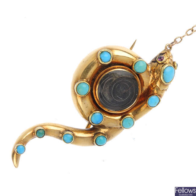 A mid Victorian 14ct gold turquoise snake memorial brooch.