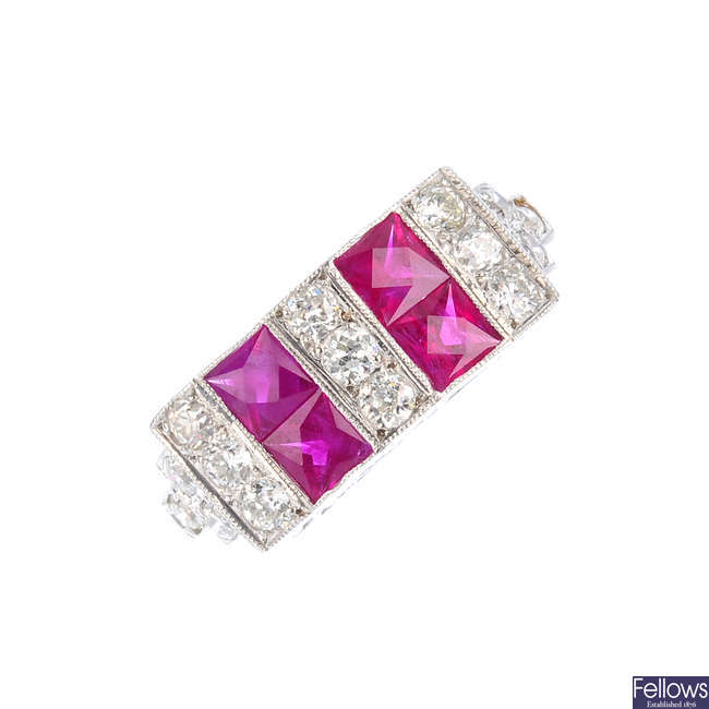 A diamond and ruby dress ring.