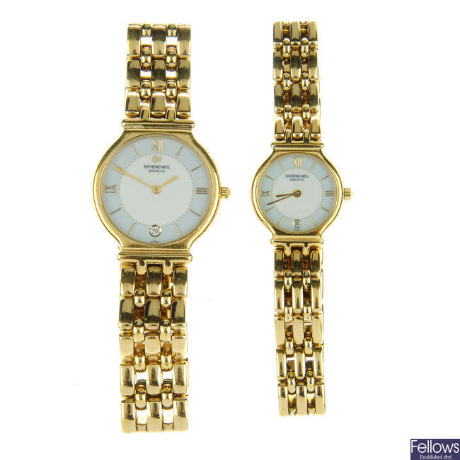 RAYMOND WEIL - a gentleman's gold plated bracelet watch with matching lady's Raymond Weil bracelet watch.
