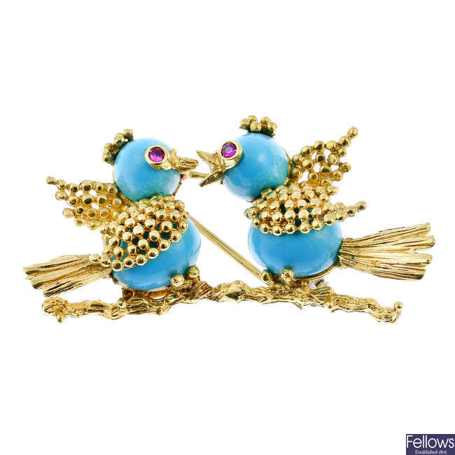 VAN CLEEF & ARPELS - a mid 20th century turquoise and ruby bird brooch.