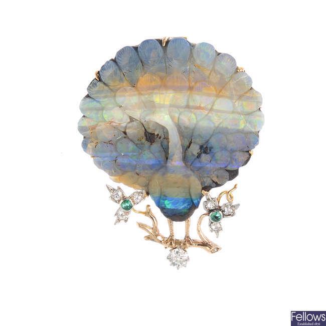 A boulder opal and gem-set peacock brooch.
