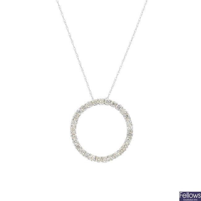 A diamond pendant, with chain.