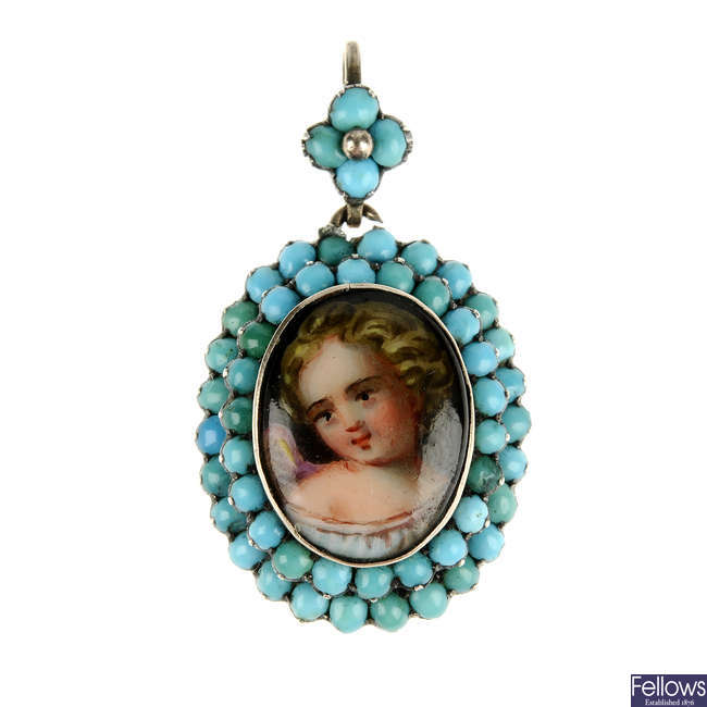 A late Victorian turquoise memorial pendant.