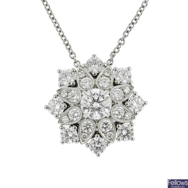 HARRY WINSTON - a platinum diamond 'Lotus Cluster' pendant.