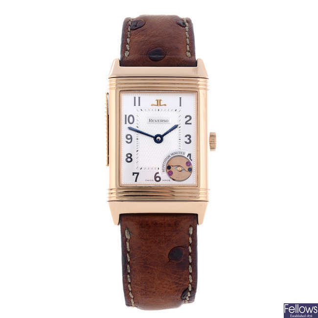 JAEGER-LECOULTRE - a gentleman's 18ct rose gold Reverso Repetition Minute wrist watch.