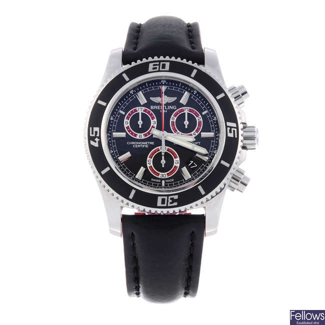BREITLING - a gentleman's stainless steel SuperOcean chronograph wrist watch.